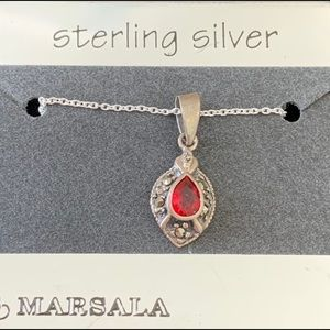 Jewelry - Sterling Silver Red & Gold Necklace